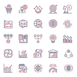 Premium quality multicolor Global Business icon set. This unique style outline icon set contains such icons as Assets, Innovation, Business Travel, Growth and so on