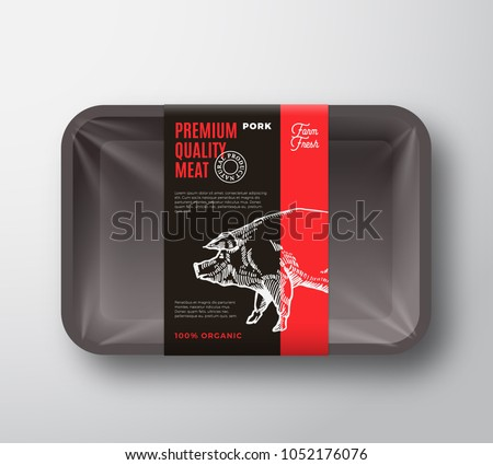 Premium Quality Pork Meat Package and Label Stripe. Vector Food Plastic Tray Container with Cellophane Cover. Packaging Design Layout. Modern Typography. Hand Drawn Pig Silhouette Background.