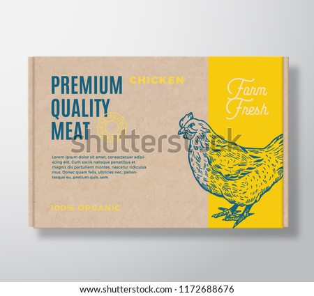 Premium Quality Poultry Vector Meat Packaging Label Design on a Craft Cardboard Box Container. Modern Typography and Hand Drawn Chicken Silhouette Background Layout.