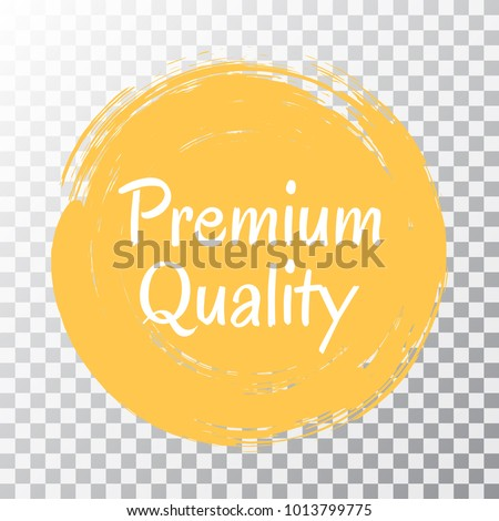 Premium quality products icon, goods package label vector design. High quality goods, food, clothing logo, premium class products sign, stamp clip art, circle tag label, sticker, emblem on transparent