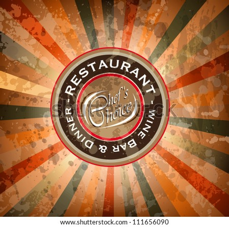 Premium quality Restaurant men���¹ cover with editable vintage distressed background and space for text.