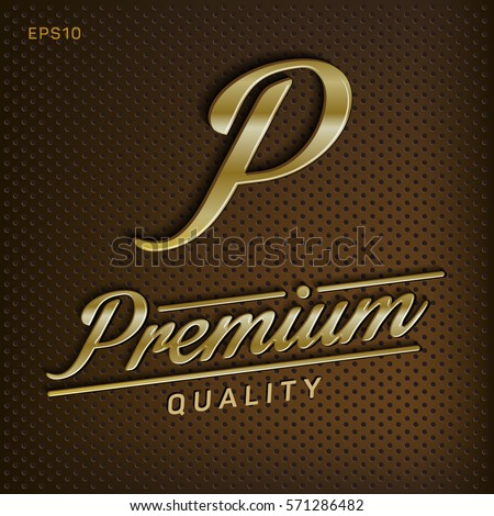 Premium, quality retro vintage sign for package design, guaranteed golden label, vector illustration, golden shine, metal