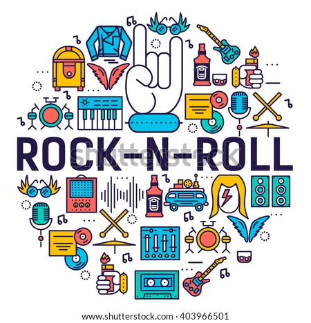 Premium quality ROCK'N'ROLL outline icons collection set.  Music equipment linear symbol pack. Modern template of thin line logo, symbols, pictogram and flat illustrations concept.