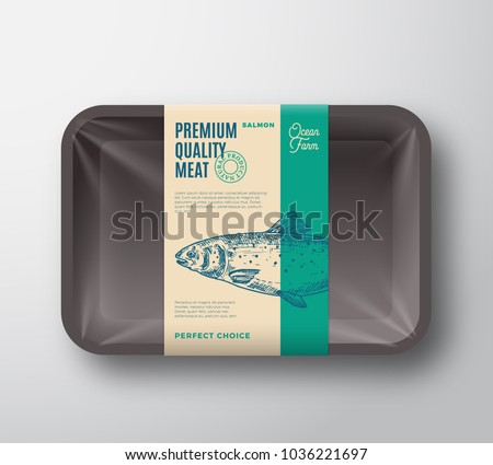 Premium Quality Salmon. Abstract Vector Fish Plastic Tray with Cellophane Cover Packaging Design Label. Modern Typography and Hand Drawn Salmon Silhouette Background Layout. Isolated.