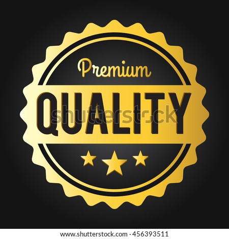 Premium quality stamp. Golden shiny genuine commerce Label/Badge (dark) for shop business promotion products