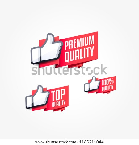Premium Quality, Top Quality & 100% Quality Thumbs Up Shopping Label