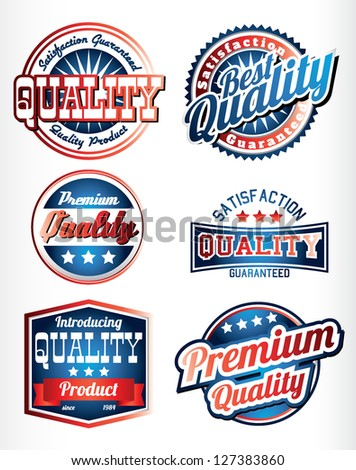 premium quality vintage labels with ribbons in blue red color