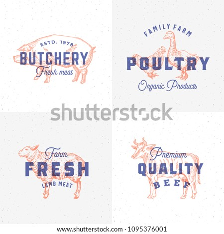 Premium Quality Vintage Meat and Poultry Labels. Retro Print Effect Emblems. Abstract Vector Sign, Symbol or Logo Template Set. Hand Drawn Cow, Pig, Lamb, Goose and Chicken Sillhouettes. Isolated.