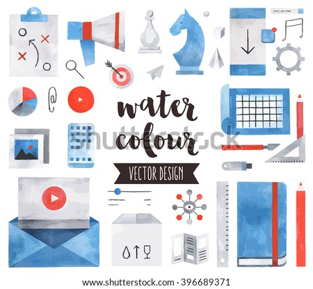 Premium quality watercolor icons set of business strategy concept, marketing tools. Hand drawn realistic vector decoration with text lettering. Flat lay watercolor objects isolated on white background
