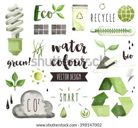Premium quality watercolor icons set of environmental problem, green energy saving. Hand drawn realistic vector decoration with text lettering. Flat lay watercolor objects isolated on white background