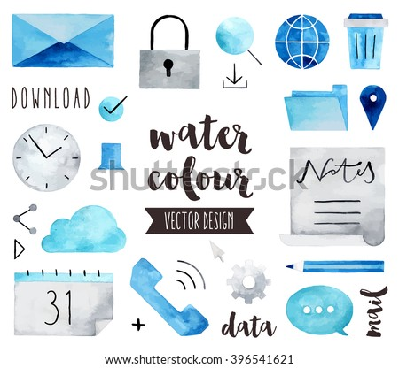 Premium quality watercolor icons set of global communication, business connection. Hand drawn realistic vector decoration with text lettering. Flat lay watercolor objects isolated on white background.