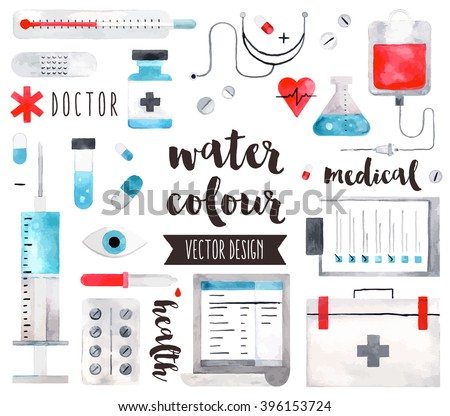 Premium quality watercolor icons set of medical equipment, pills with first aid kit. Hand drawn realistic vector decoration, text lettering. Flat lay watercolor objects isolated on white background.