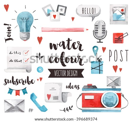 Premium quality watercolor icons set of social media content posting and blogging. Hand drawn realistic vector decoration with text lettering. Flat lay watercolor objects isolated on white background.