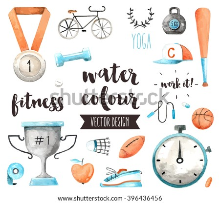 Premium quality watercolor icons set of sports awards and fitness activity benefits. Hand drawn realistic vector decoration, text lettering. Flat lay watercolor objects isolated on white background.