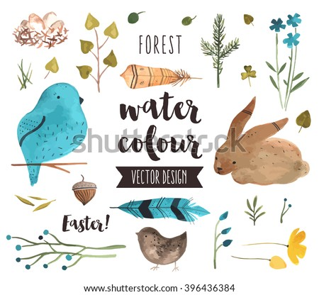 Premium quality watercolor icons set of spring celebration, Easter egg happiness. Hand drawn realistic vector decoration with text lettering. Flat lay watercolor objects isolated on white background.