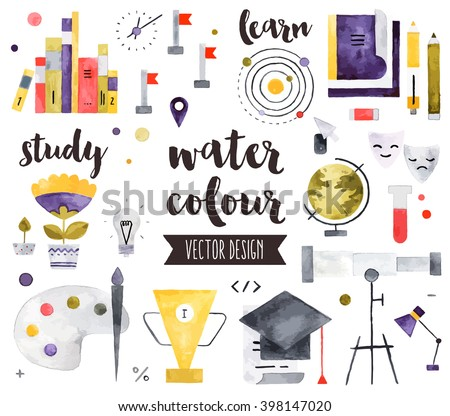 Premium quality watercolor icons set of study skills, school learning and education. Hand drawn realistic vector decoration with text lettering Flat lay watercolor objects isolated on white background