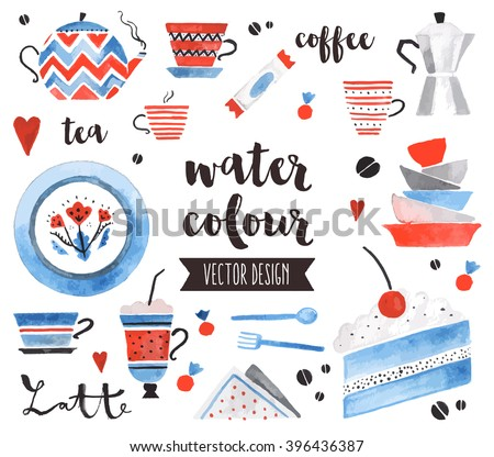 Premium quality watercolor icons set of traditional tea pot, bright ceramic plates. Hand drawn realistic vector decoration with text lettering. Flat lay watercolor objects isolated on white background