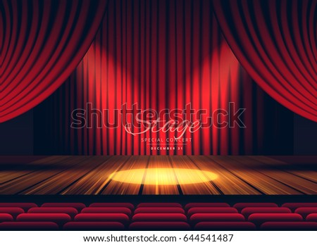 premium red curtains stage