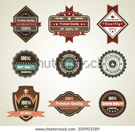 Premium retro labels, vintage vector