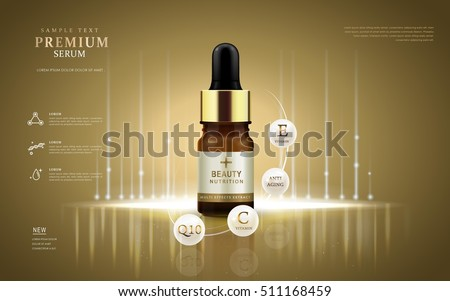 Premium serum ads, droplet bottle with ingredients on the pearl white ball. 3D illustration.