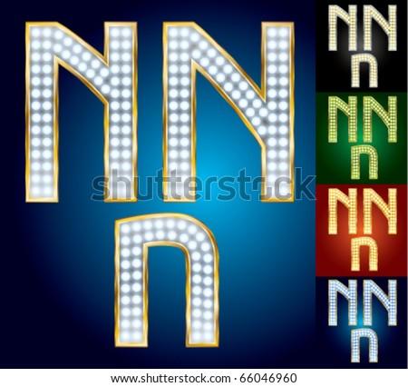 Premium set of advanced lamp alphabet. Character n
