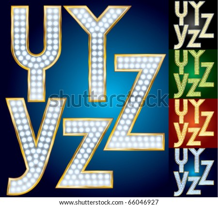 Premium set of advanced lamp alphabet. Characters y z