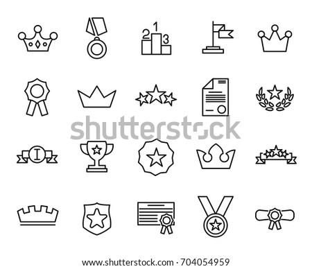 Premium set of award line icons. Simple pictograms pack. Stroke vector illustration on a white background. Modern outline style icons collection.