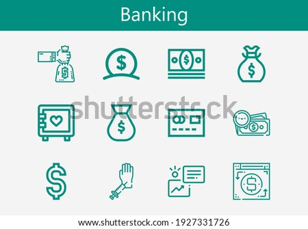 Premium set of banking line icons. Simple banking icon pack. Stroke vector illustration on a white background. Modern outline style icons collection of Money, Strongbox, Dollar