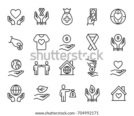 Premium set of charity line icons. Simple pictograms pack. Stroke vector illustration on a white background. Modern outline style icons collection.
