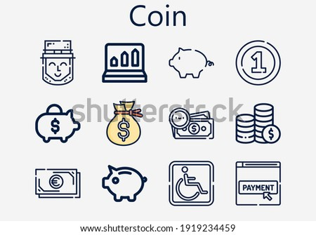 Premium set of coin [S] icons. Simple coin icon pack. Stroke vector illustration on a white background. Modern outline style icons collection of Coin, Money, Coins, Piggy bank, Profits, Parking