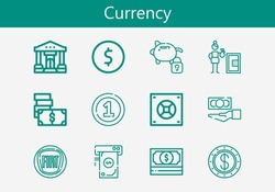 Premium set of currency line icons. Simple currency icon pack. Stroke vector illustration on a white background. Modern outline style icons collection of Money, Coin