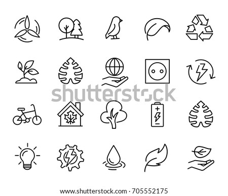 Premium set of ecology line icons. Simple pictograms pack. Stroke vector illustration on a white background. Modern outline style icons collection.