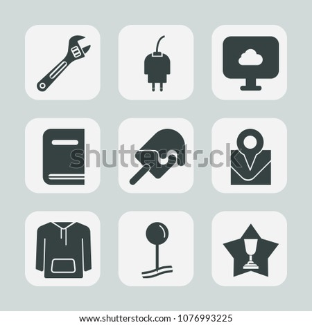 Premium set of fill icons. Such as tool, charger, cloud, electric, energy, internet, place, phone, book, location, repair, library, wrench, jacket, spanner, power, map, equipment, clothing, literature