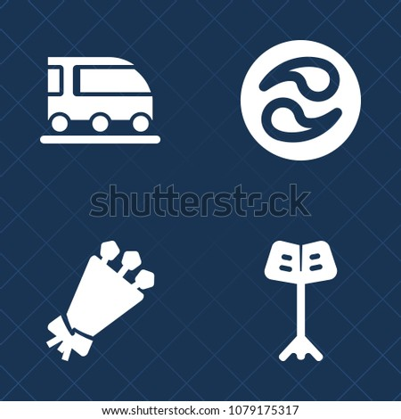 Stock Photo Premium set of fill vector icons. Such as pattern, traditional, transportation, orchestra, rail, bouquet, flower, transport, japanese, train, blossom, petal, musician, nature, road, crest, music, car