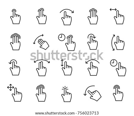 Premium set of gesture line icons. Simple pictograms pack. Stroke vector illustration on a white background. Modern outline style icons collection.