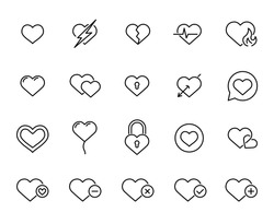 Premium set of heart line icons. Simple pictograms pack. Stroke vector illustration on a white background. Modern outline style icons collection.