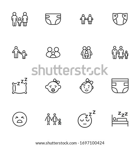 Premium set of kid line icons. Web symbols for web sites and mobile app. Modern vector symbols, isolated on a white background. Simple thin line signs.