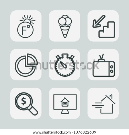 Premium set of outline icons. Such as home, degree, fahrenheit, sweet, rent, celsius, cream, ball, temperature, house, measurement, web, video, property, timer, up, cold, presentation, estate, graph