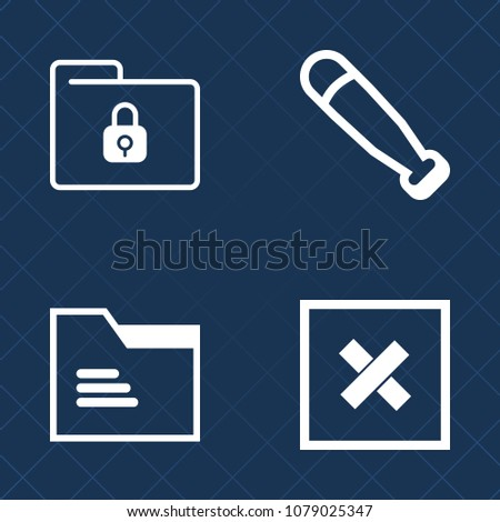 Premium set of outline vector icons. Such as door, document, bat, competition, league, protect, template, padlock, secure, open, data, safe, sign, empty, security, lock, safety, game, background, play