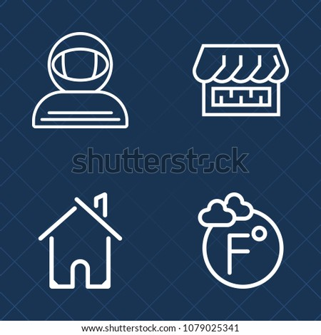Premium set of outline vector icons. Such as home, storefront, awning, science, fahrenheit, curtain, housing, house, degree, measurement, real, estate, door, astronomy, astronaut, store, thermometer