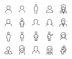 Premium set of people line icons. Simple pictograms pack. Stroke vector illustration on a white background. Modern outline style icons collection.