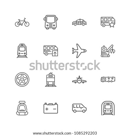 Premium Set of Public Transport Related Vector Line Icons. Contains such Icons as Taxi, Train, Tram and more. Editable Stroke. Pixel Perfect. #1085292203