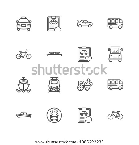 Premium Set of Public Transport Related Vector Line Icons. Contains such Icons as Taxi, Train, Tram and more. Editable Stroke. Pixel Perfect. #1085292233