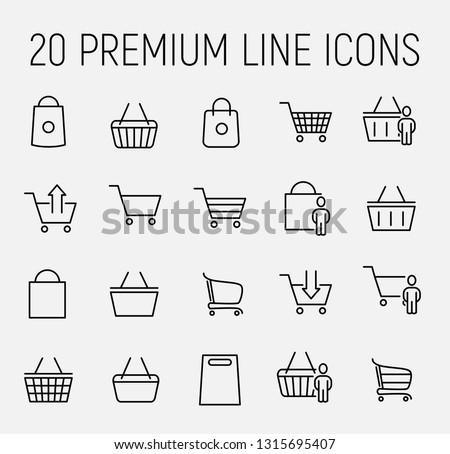 Premium set of shopping basket line icons. Simple pictograms pack. Stroke vector illustration on a white background. Modern outline style icons collection.