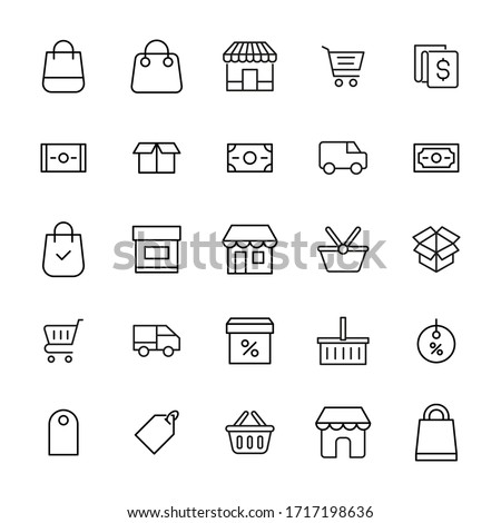 Premium set of shopping line icons. Web symbols for web sites and mobile app. Modern vector symbols, isolated on a white background. Simple thin line signs.