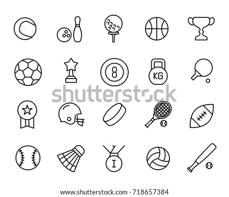 Premium set of sport equipment line icons. Simple pictograms pack. Stroke vector illustration on a white background. Modern outline style icons collection.