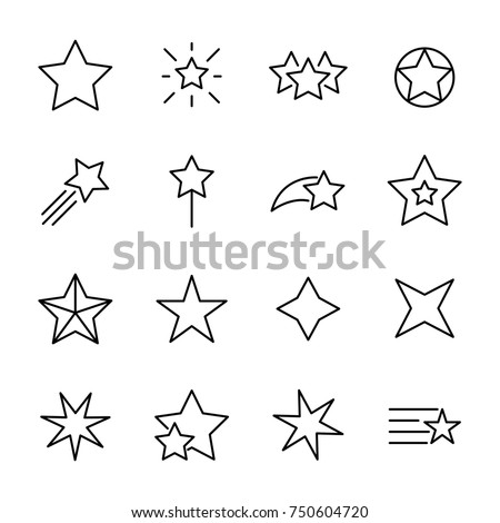 premium set of star line icons