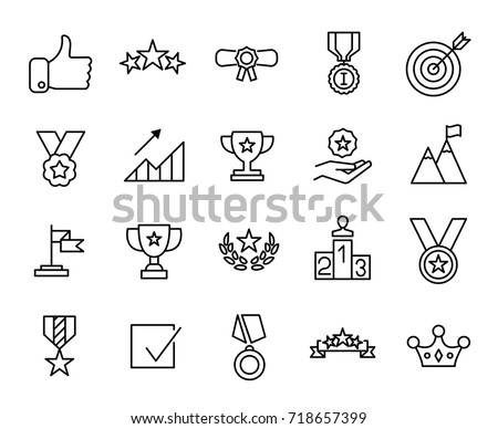 Premium set of success line icons. Simple pictograms pack. Stroke vector illustration on a white background. Modern outline style icons collection.