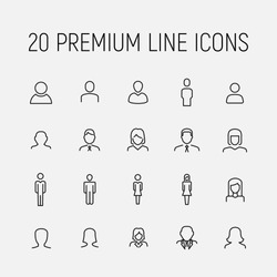 Premium set of user line icons. Simple pictograms pack. Stroke vector illustration on a white background. Modern outline style icons collection.