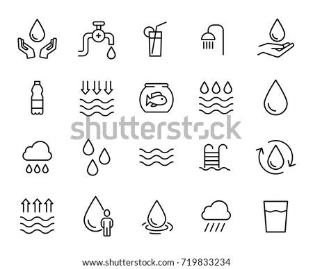 Premium set of water line icons. Simple pictograms pack. Stroke vector illustration on a white background. Modern outline style icons collection.